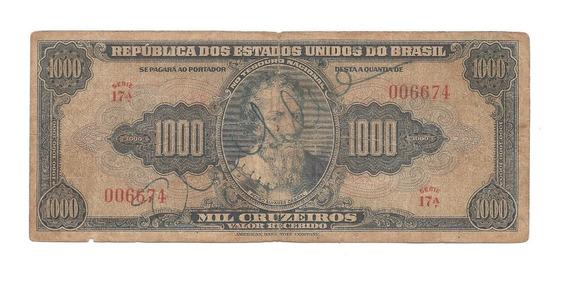 C048 - Cédula 1000 Cruzeiros - Autografada /carta Registrada