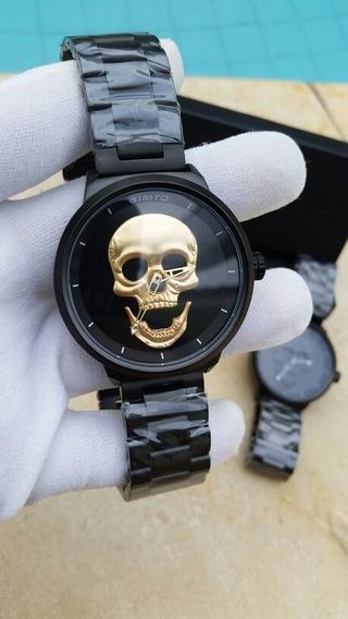 Relogio Gimto Skull Cranio Caveira Masculino Dourado