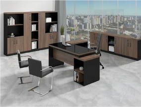 Mesa Presidente Em L 1,92x1,60m + Gaveteiro 40mm + Vidro!