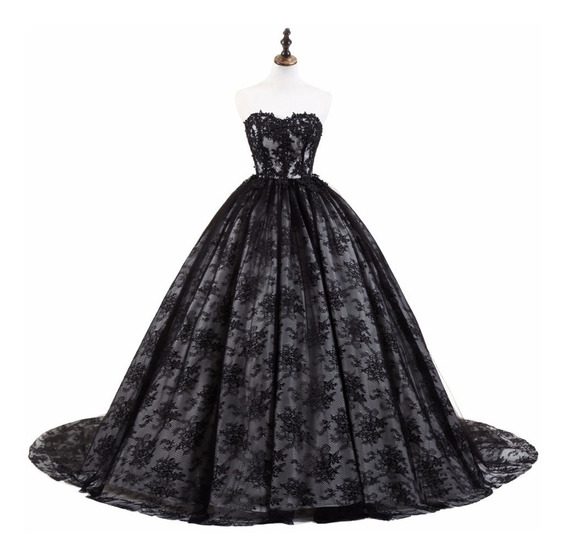 Vestido Xv Años Negro Encaje Envio Gratis ! E-32618