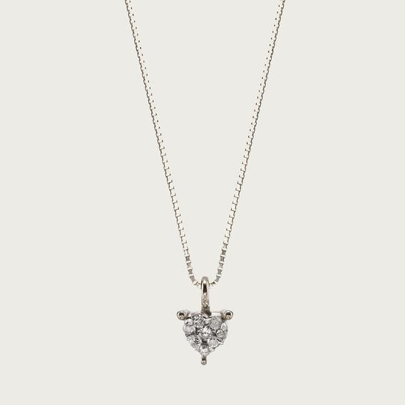 Gargantilha Coração Em Ouro 18k Com Diamantes.