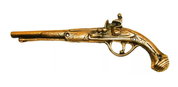 Garrucha Revolver Bronze Metal Decoração