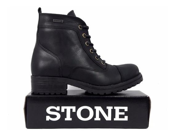 Bota Borcegos De Cuero De Mujer Stone 4301