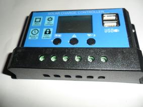 Controlador De Carga Painel Pwm Solar Usb Lcd 30a 12v / 24v