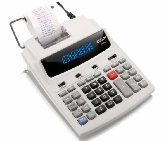 Calculadora Com Bobina Elgin 12 Dígitos Relógio Mr 6124