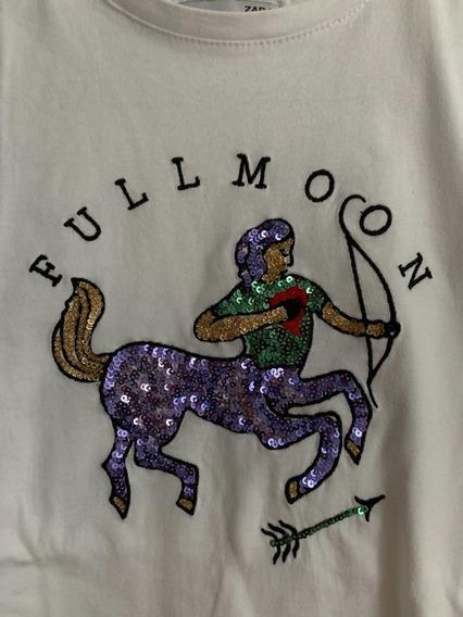 Remera Mujer Zodiaco Algodon Zara Unicornio Lentejuelas