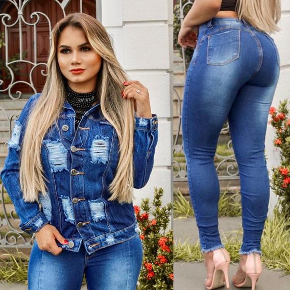 Calça Jeans Premium Skinny Levanta Bumbum + Jaqueta Linda