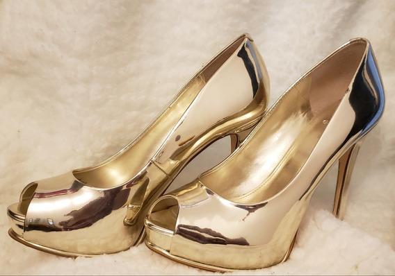 Zapatos Guess Importados Usa Pump Open Toe Stilettos Dorados