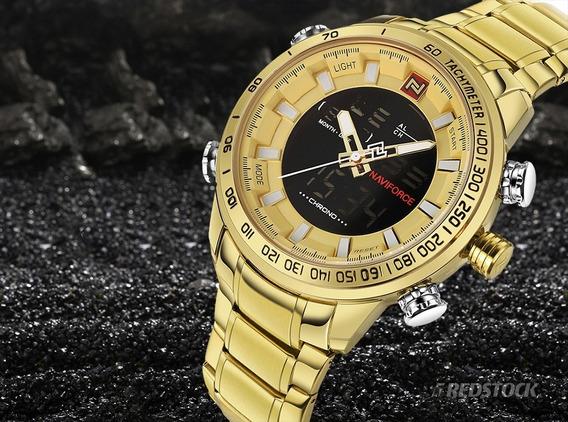 Relógio Masculino - Dourado - Pesado - Grande - Original - Aço - Prova D