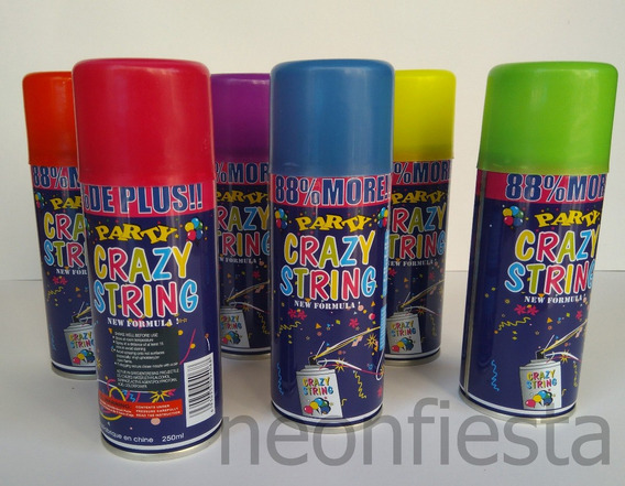 5 Serpentina Spray Aerosol Colores Surtidos Crazy String