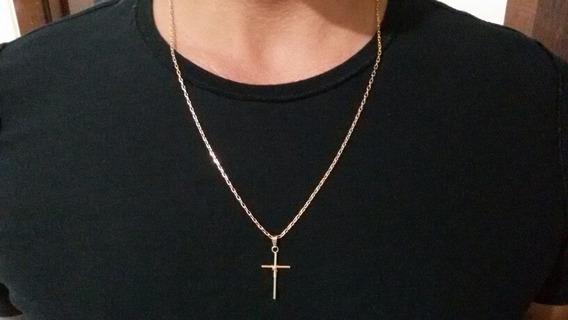 Cordão De Ouro 18k + Pingente Folhado - 9,31g - 64cm