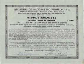1956 Ação Comum Ao Portador Indústria Madeiras Rio Vermelho