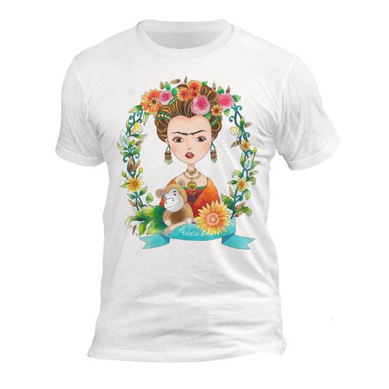 Playera Blanca Caballero Algodón Dibujo Frida Kahlo