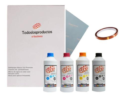Imagen 1 de 10 de Kit 4 Tintas Y Papel Premium T L P 100ml Cmyk Sublimación +