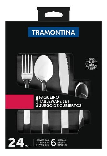 Faqueiro Tramontina Jogo De Talheres Malibu Inox Kit 24pçs
