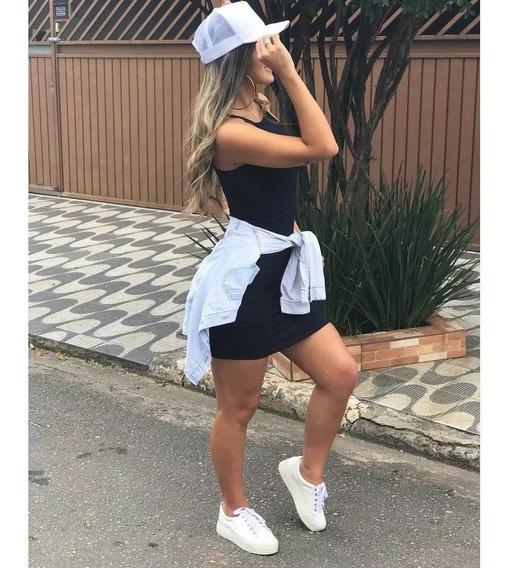 Vestido Feminino Justo Curto Com Bojo Regata Moda