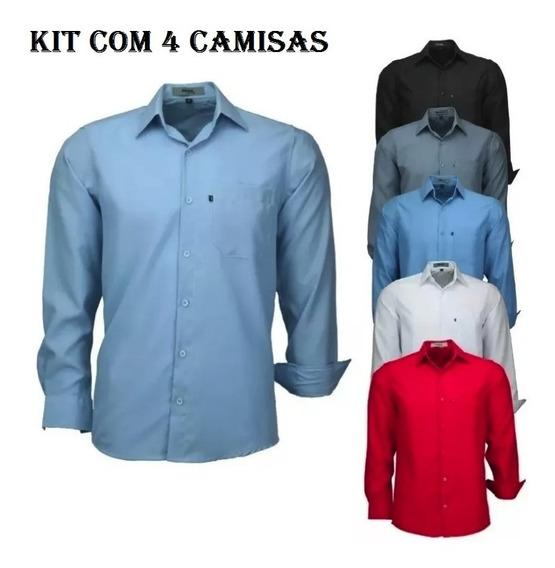 Kit 4 Camisas Social Microleve Uniforme Amil Manga Longa