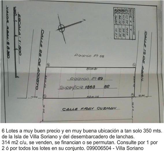 Vendo 6 Terrenos Financiados En Villa Soriano