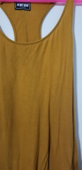 Musculosa Remera Basica Color Mostaza Ay Not Dead Mujer