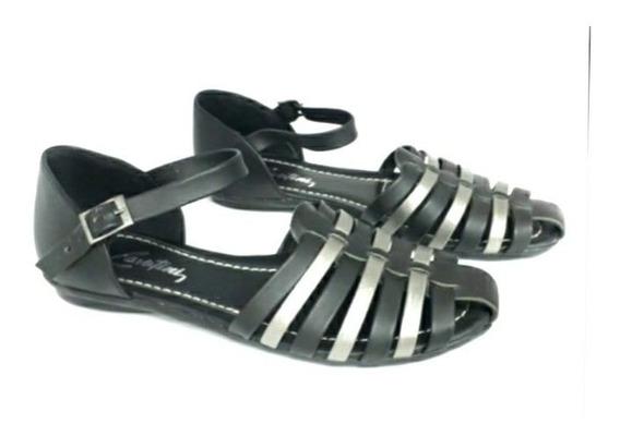 Sandalia Zapato Chatita Cavatini Mujer Negra Con Talón 35