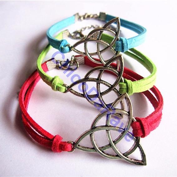 Pulseira Triquetra Paz Celta Wicca Proteção Bracelete Couro