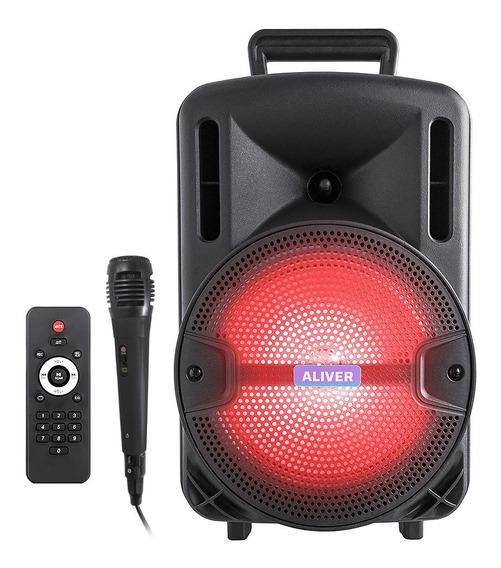 Parlante Portátil Bluetooth Más Potente Usb Fm Led + Micrófono Karaoke Pendrive Música Mp3 Aux Radio Batería Recargable
