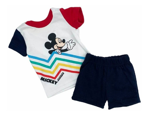 Conjunto Algodón Short Y Playera Con Estampado Disney Mickey