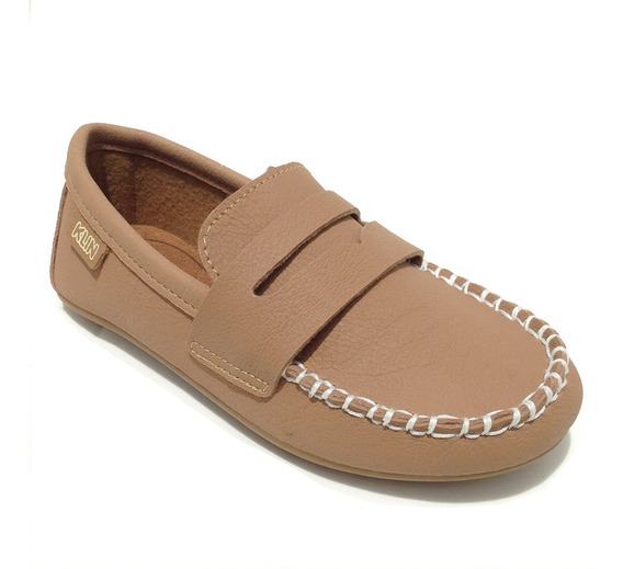 Sapato Masculino Infantil Mocassim Cor Marrom Taupe