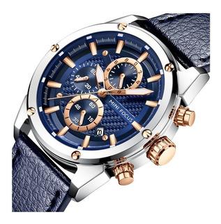Reloj Hombre Mini Focus 161 Pa Deportivo Cuero Elegante Caja