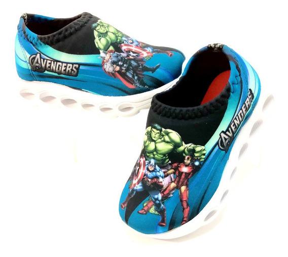 Tenis Luz Led Infantil Masculino Super Herois Incrivel Hulk
