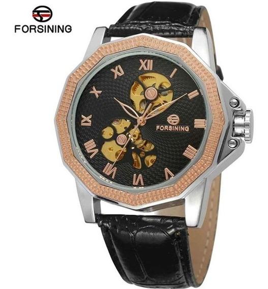 Relógio Forsining A567 Skeleton Automático Pulseira De Couro