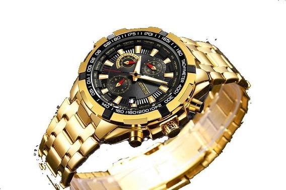 Relógio Temeite Masculino Dourado Mostrador Preto De Luxo