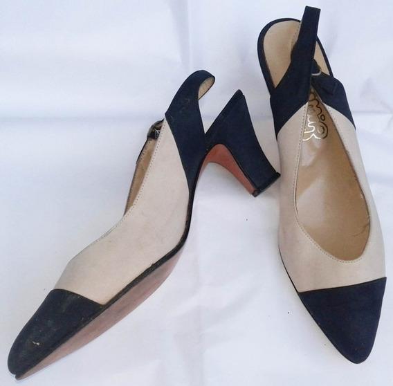Zapatos Mujer Vestir Taco Gamuza Marfil Dimir Calzature