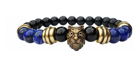 Pulseira Tigre Bolinhas Pedra Onix Agata Lazuli Obsidiana