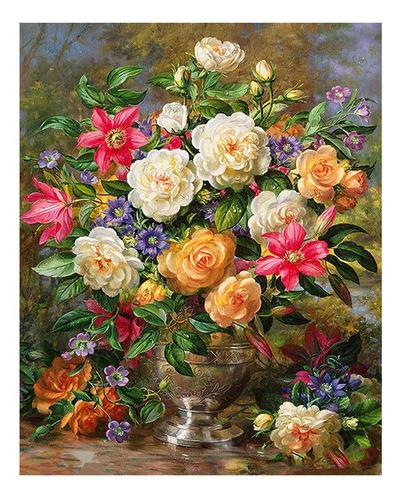 Pintura Numerada Vaso De Rosas Clássico Modelo 2_p2