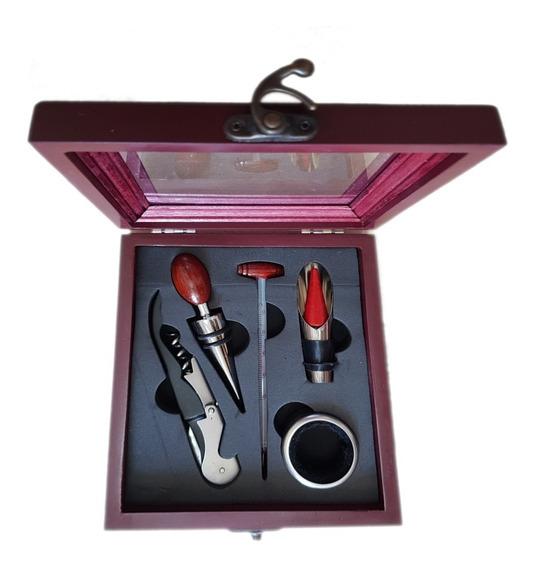Set De Vino X 5 Piezas Caja De Madera Con Acrílico Cod. 7701