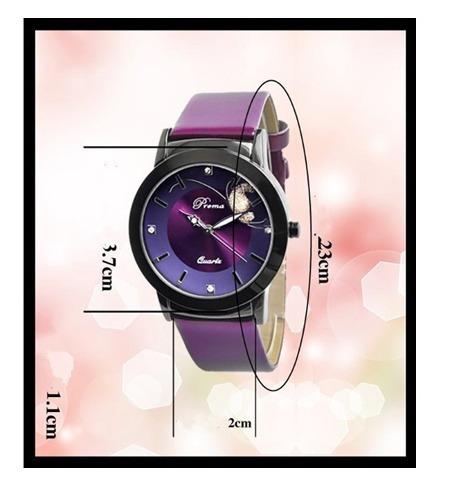 Relógios Feminino De Pulso Roxo Pulseira Couro Sintético