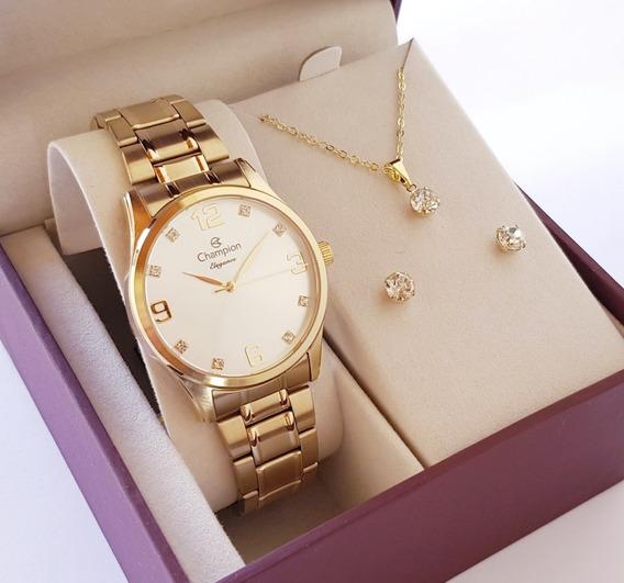 Relógio Champion Original Feminino Dourado + Colar E Brincos
