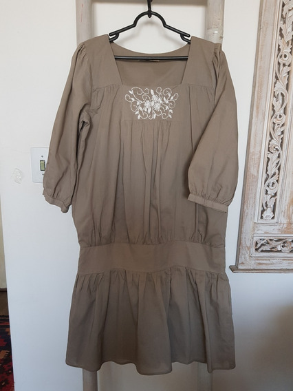 Vestido Tricoline Romântico Bordado