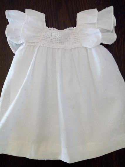 Vestido Plumeti Blanco Nena Con Detalle Broderi