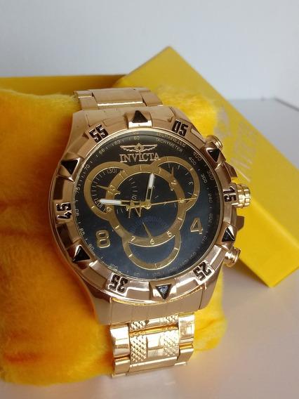 Relógio Masculino Dourado/preto Robusto Lindo + Caixa