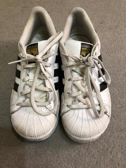 Zapatillas adidas Súper Star Niño, Talle 2,5usa, 33arg