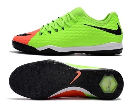 Chuteira Society Nike Hypervenomx Finale Ii Tf Verde/laranja