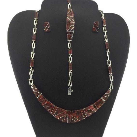 Paquete Collar Pulsera Aretes Plata925 Con Piedra Ópalo J2