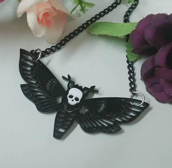Colar Mariposa Morcego Metal Alternativo Rock Gothic Gotico