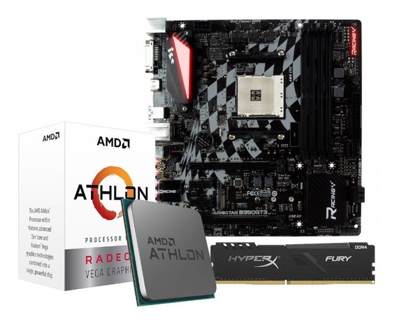 Kit Processador Athlon 3000g Biostar B350gt3 Am4 4gb Hx Fury