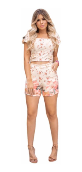 Conjunto Feminino Blusa Cropped E Shorts Botões