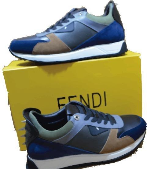 Tenis Fendi Multicolor Negro/azul Con Picos Envio Gratis