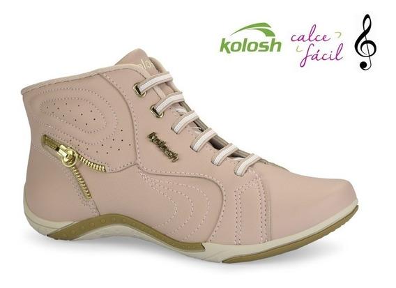 Tênis Botinha Kolosh Thurso Blush Casual Chic Rosa C1283