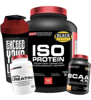 Kit Iso Protein 2kg + Creatina + Bcaa + Shaker Full